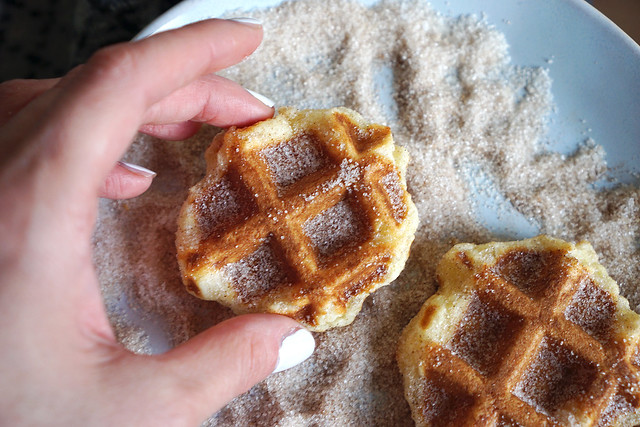 Gluten free waffle churros covered in cinnamon sugar