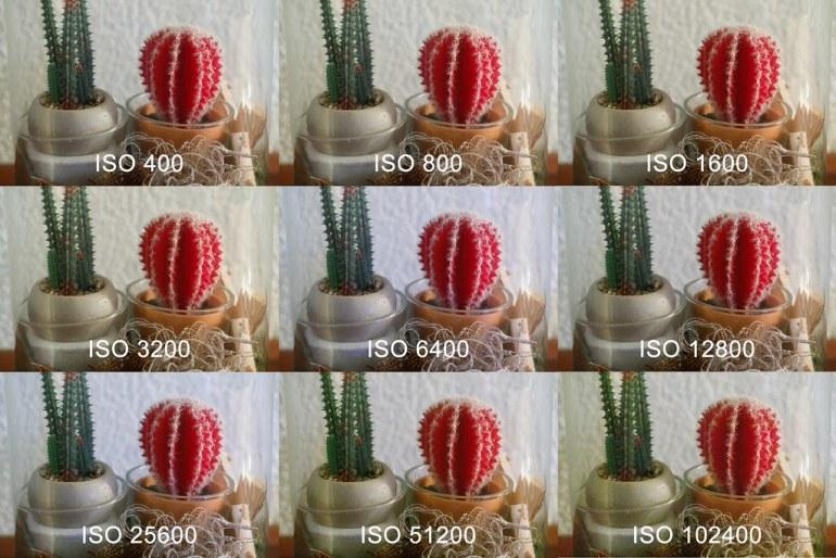 Een serie foto's met verschillende ISO waarden tot de maximale ISO waarde.