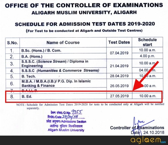 AMU Entrance Exam 2019
