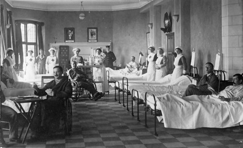 Auxiliary hospitals in private homes  On the outbreak of