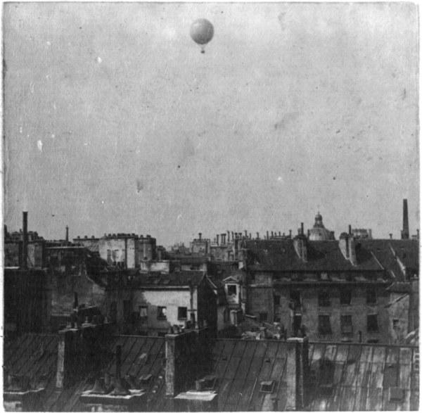 Henri Balloon Above Rooftops Paris 1878