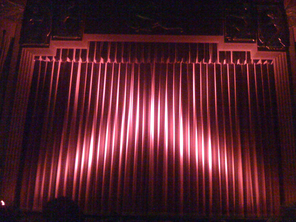 Closed red curtain at the Coolidge Corner Theatre  landsc