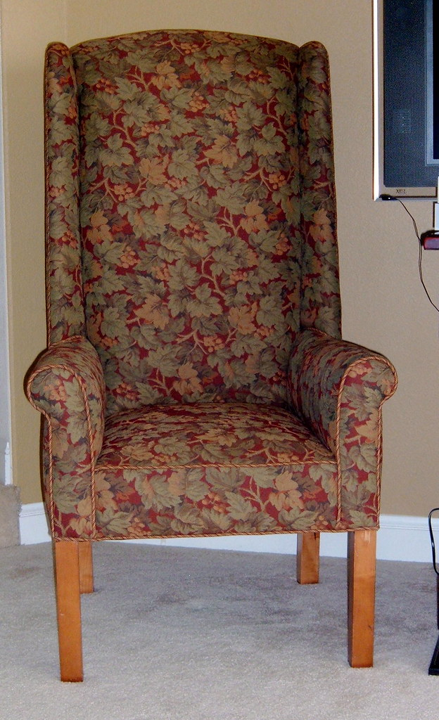 Tapestry Wing Chair  High back wing chair upholstered in