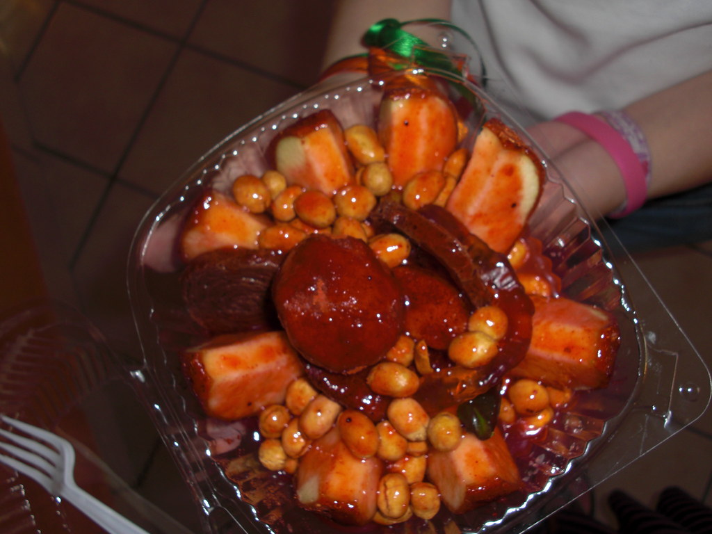 chamoy apple with peanuts gummy worms and other things