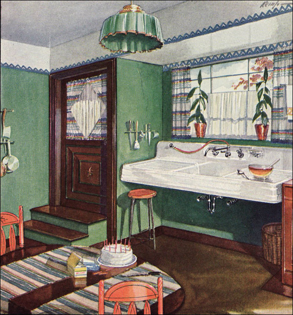 1928 Kitchen by Crane  Published in American Home as an