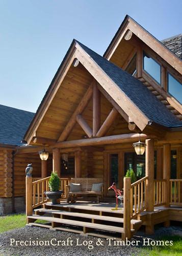 Front Entry Of Custom Log Home Exterior View Precision