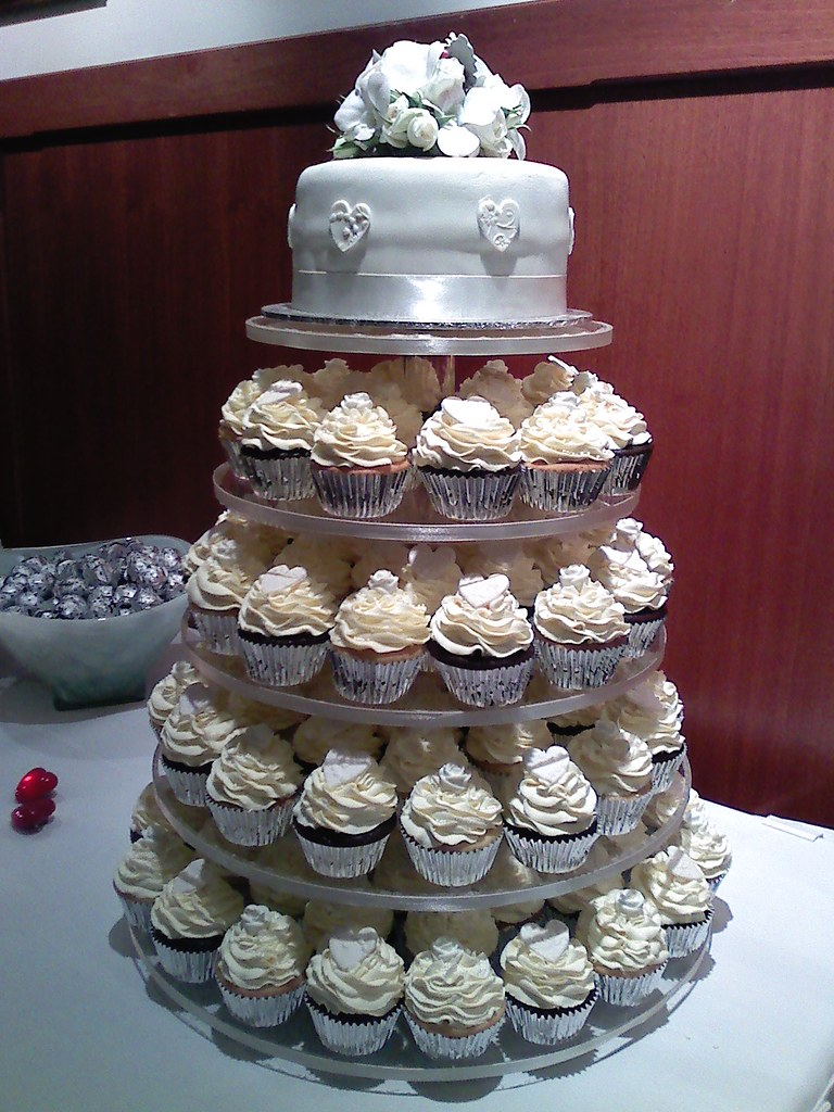 White Wedding Cupcake Tower Vanilla And Raspberry