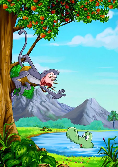 The Monkey and The Crocodile  One of the famous story