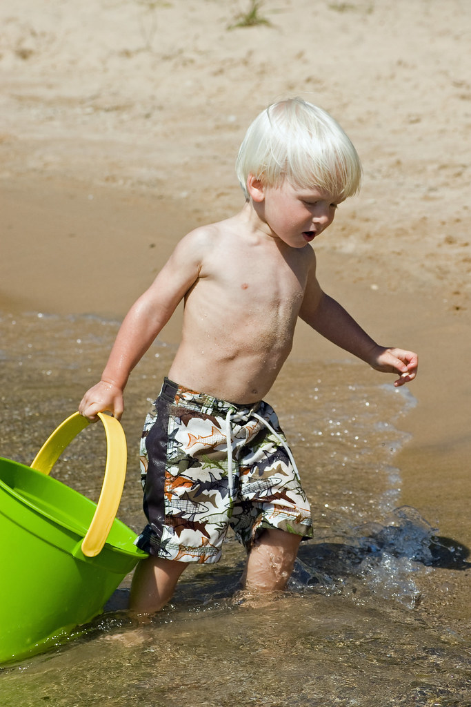 Blonde Haired Boy Hauling Water My Grandson Was A Non