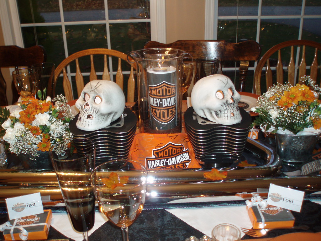 Harley Davidson Table Centerpiece Hubby Came Up With A