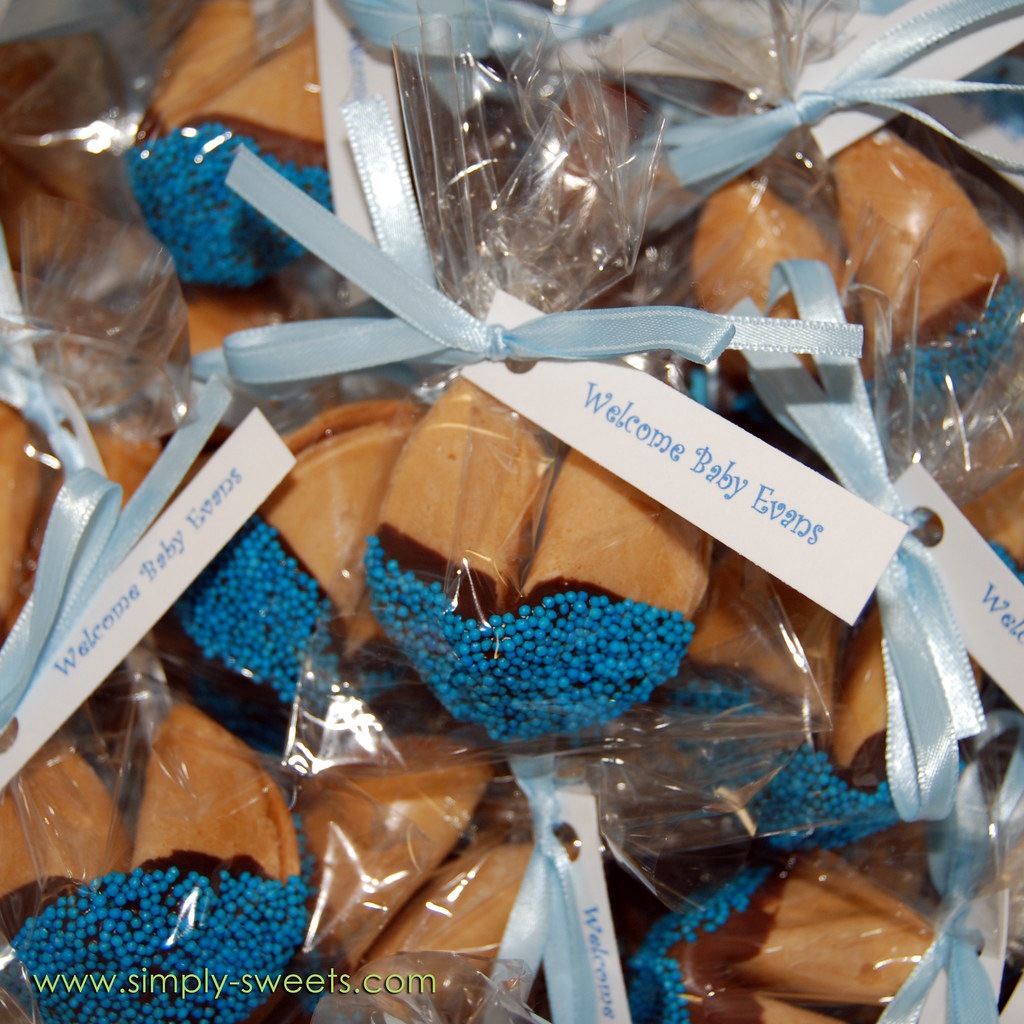 Baby Evans chocolate dipped fortune cookie baby shower fav