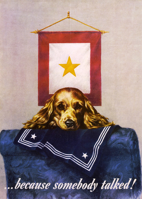 white and gold chair waiting room chairs vinyl sad puppy propaganda poster, 1944 |