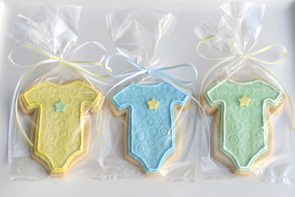 Baby Boy Cookies  Baby onesie shaped cookies wrapped up