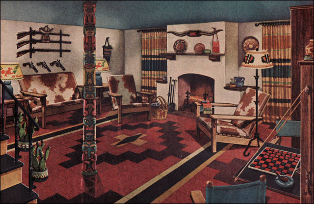 1945 Man Cave  This ad for Armstrong asphalt tile is for