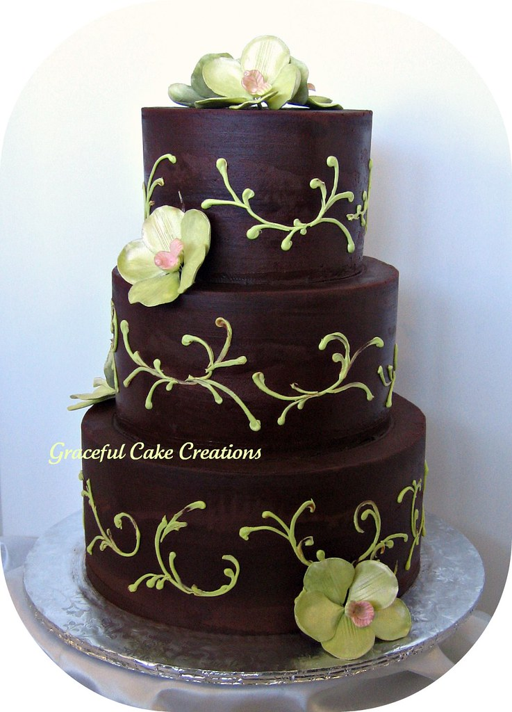 Chocolate Brown And Green Wedding Cake Grace Tari Flickr