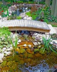Backyard pond bridge   Small footbridge over backyard ...