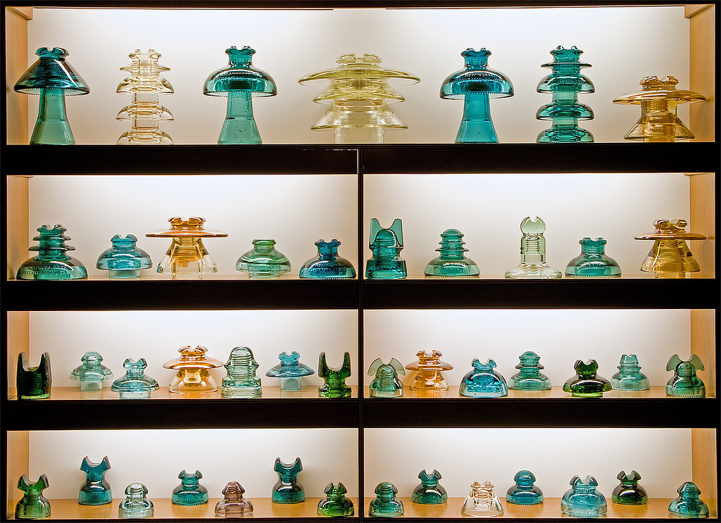 Glass Power Insulators  This is a display cabinet of my