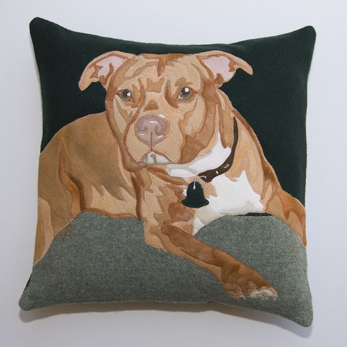 Pit Bull Custom Handcrafted Wool Applique Pillow  Flickr