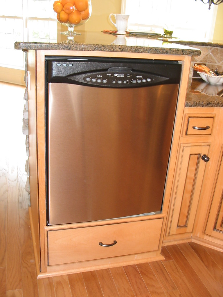 Raised Dishwasher Kitchen Boasts Stainless Steel