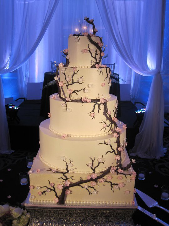 Cherry Blossom Wedding Cake Huge Five Tier Cake
