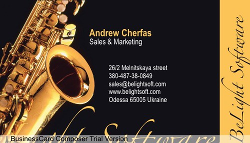 Music Card Sample Of Business Card Design Available In