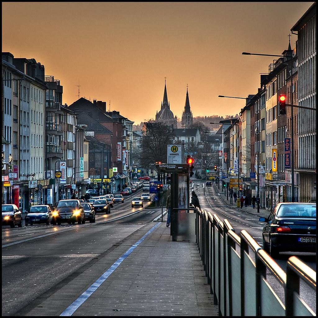 Aachen Adalbertsteinweg Hdr Blick Zum Aachener Dom