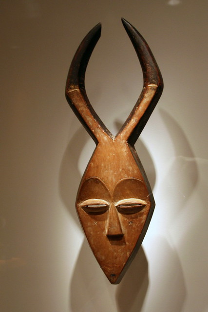 Mask Kwele Peoples Gabon Early 20th Century Wood Pigm