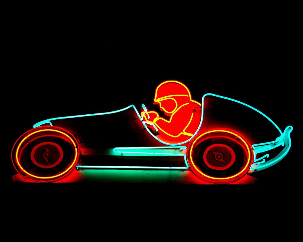 3d Wallpaper Classic Car Las Vegas Neon Race Car Neon Racecar From The Neon Sign