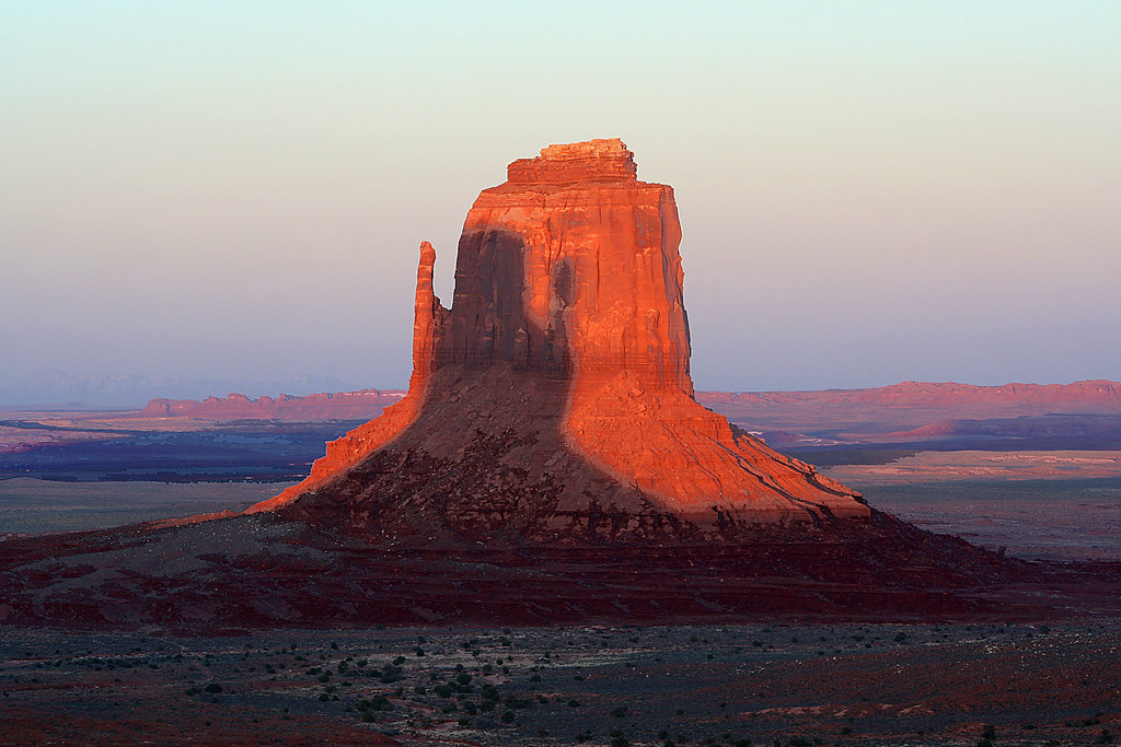 Monument Valley  Right Mitten at sunset with shadow of Le
