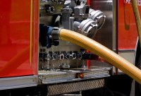 Fire truck hose connections | Fire truck pumps water into ...