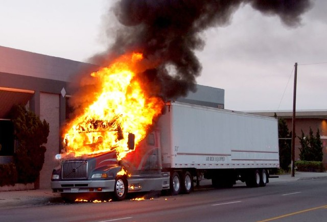 Big Rig Fire Consumes Cab of Truck  Los Angeles Firefighter  Flickr