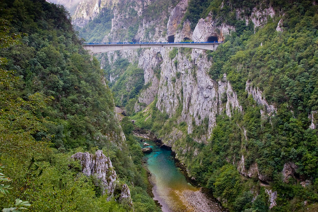 Piva Bridge over the Piva River also Drina Montenegro