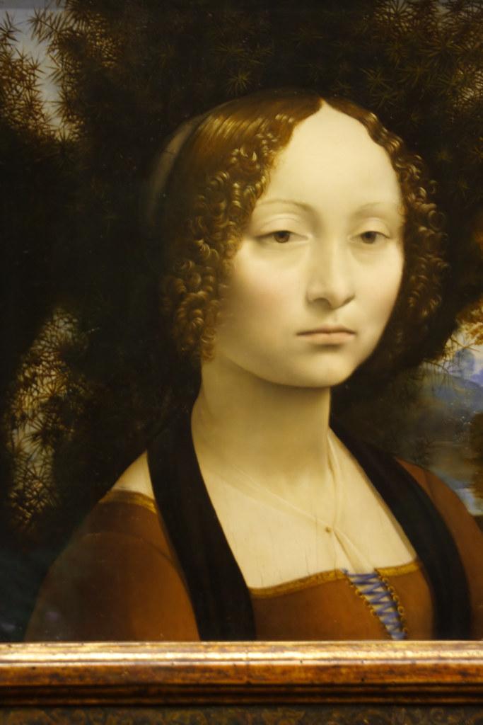 Foto de una pintura de Leonardo da Vinci Ginevra de Benc