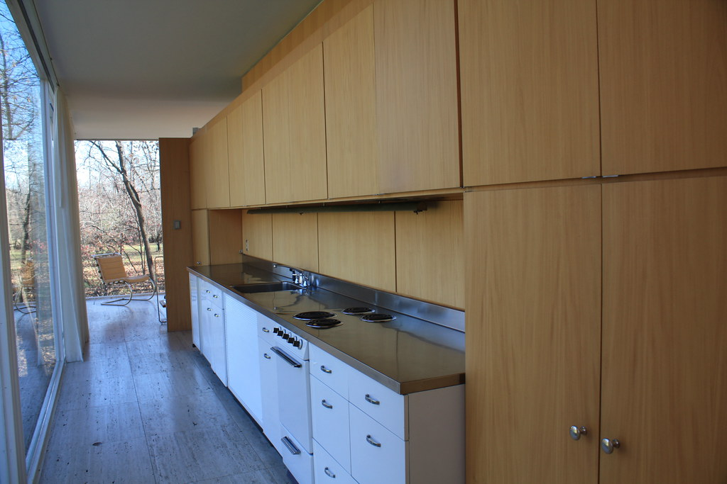 stainless steel kitchen curtains sets kitchen/hall of farnsworth house | at the time ...