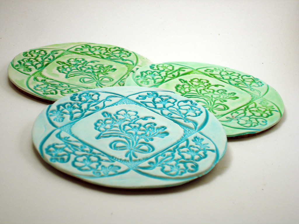 Faux Ceramic Coasters  Polymer clay coasters made as sample  Flickr