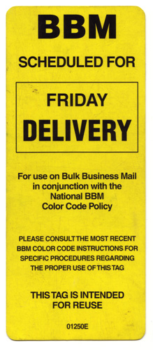 Bulk Business Mail Tag PLEASE CONSULT THE MOST RECENT