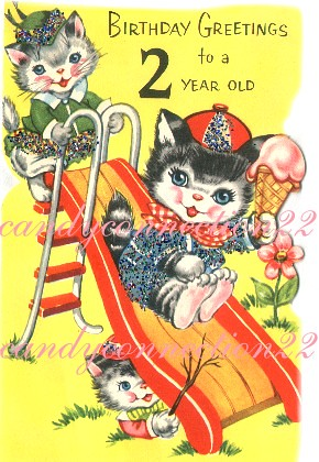 Cats Sliding Vintage Birthday Card Copyright Info