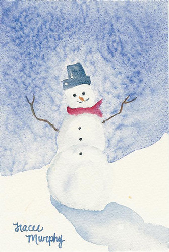 Snowman Original Watercolor 4x6 Inches Painted In 2007