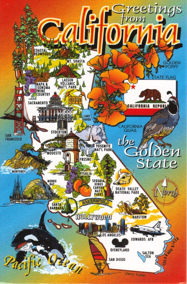 California State Cartoon Map Postcard Show The Map Card