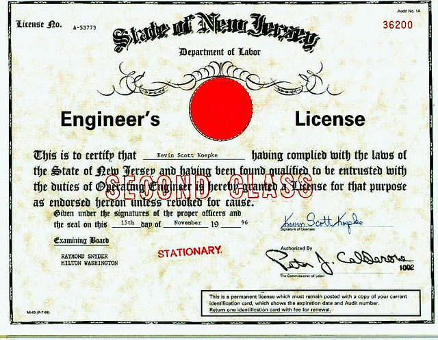 nj red seal engineers license  this was my stationary