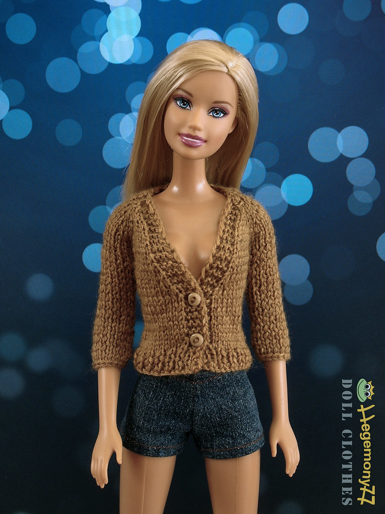Barbie in custom order hand knitted brown V neck cardigan