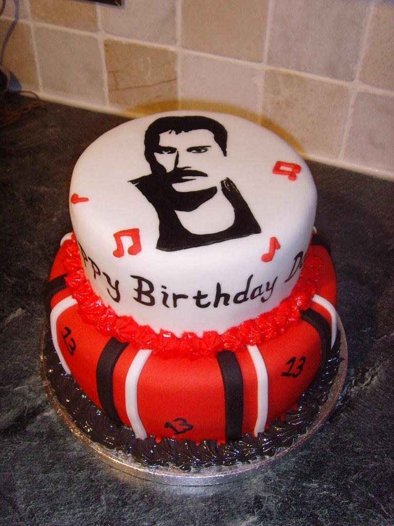 Freddie Mercury Cake A Two Tier 13th Birthday Cake For A