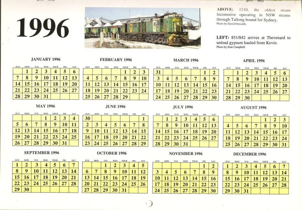 1996ATC0015Year Calendar Page 1996 Australian Trains Calen