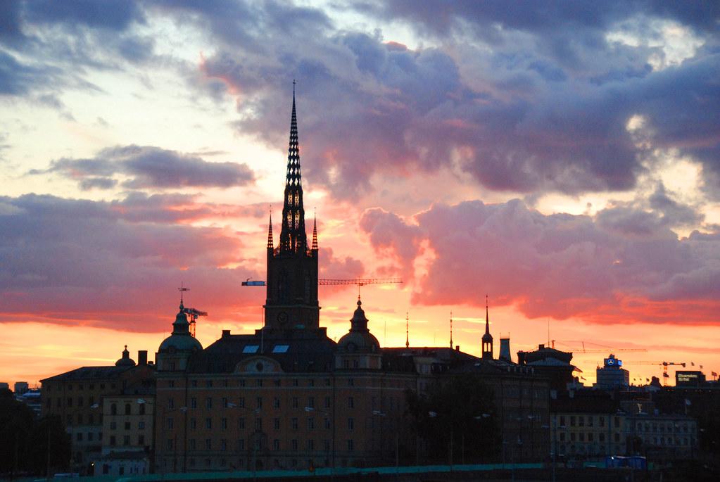 A Stockholm Silhouette Sunset Steeple Skyline  Taken