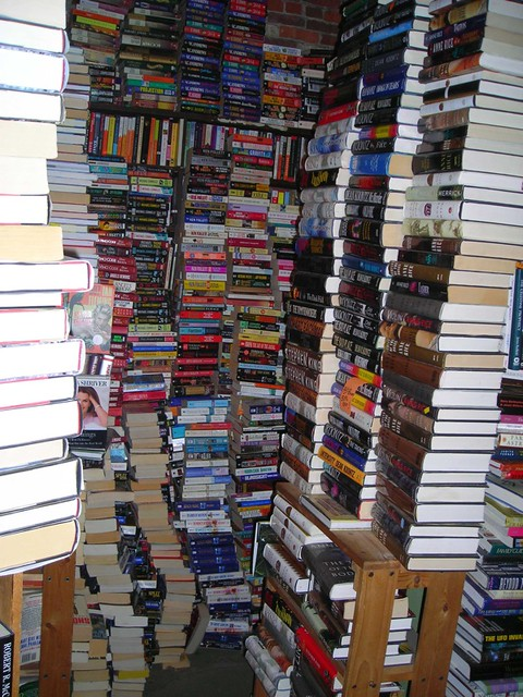 Book store  Books were stacked from floor to ceiling in