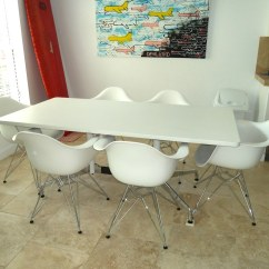 White Plastic Dining Chairs Comfy Eames Molded Chair And Table By