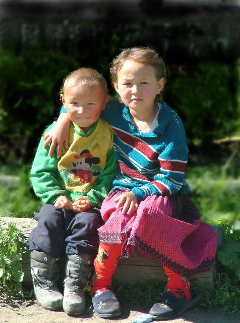 Kazakh village children  These children lived in an