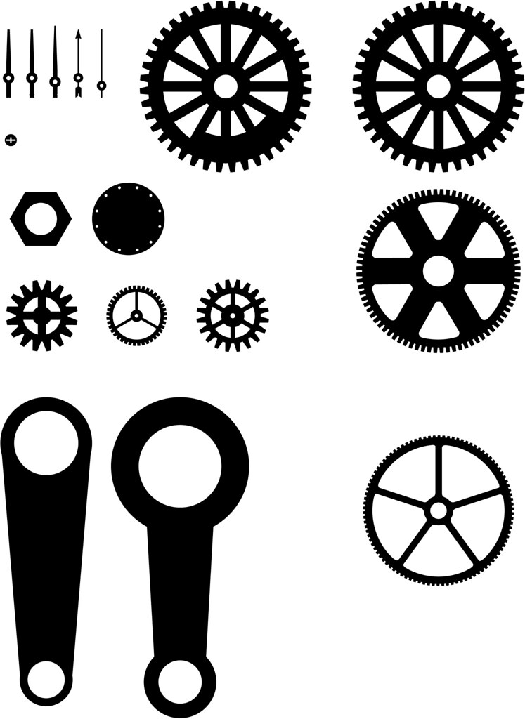 Steampunk Gears, Needles, Rods 'n Such (on white backgroun