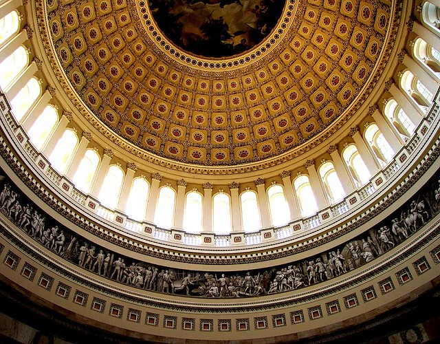 Inside the dome of the US Capitol Building Washington