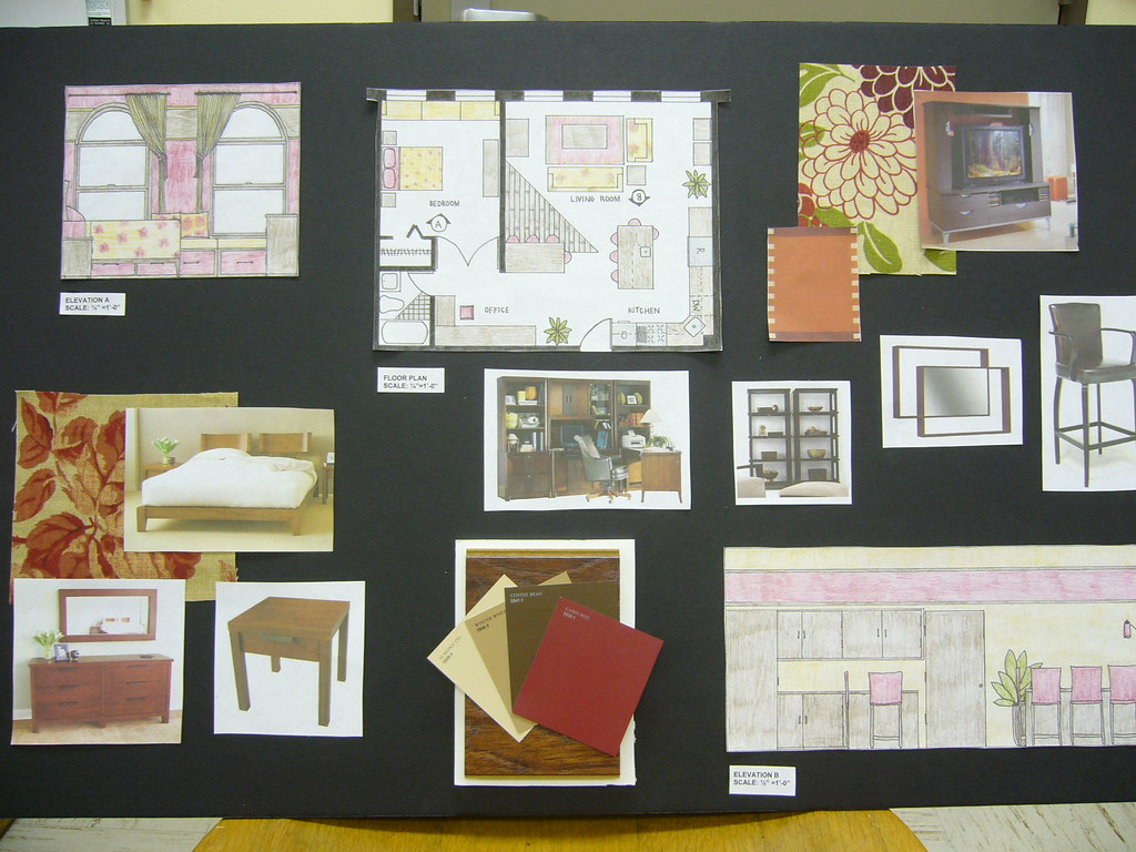 P1010828  Interior Design students sample board from the